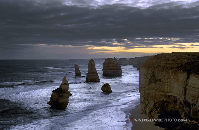 Magnificient winter sunset above Twelve Apostles Marine national park in south australian state Victoria